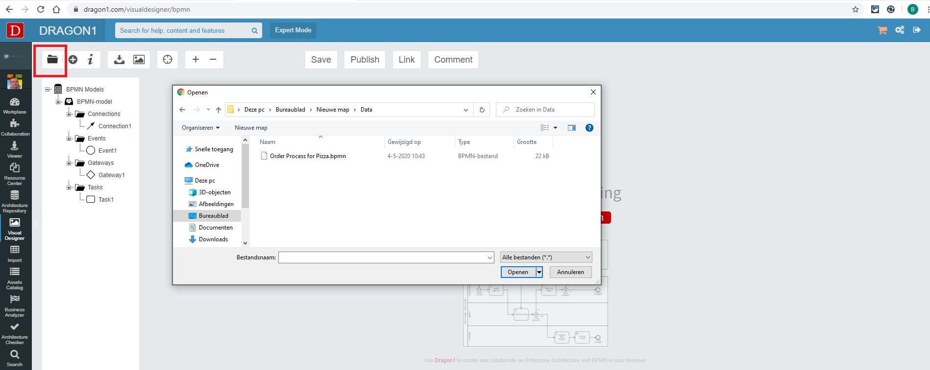 Import a BPMN file in the Visual Designer