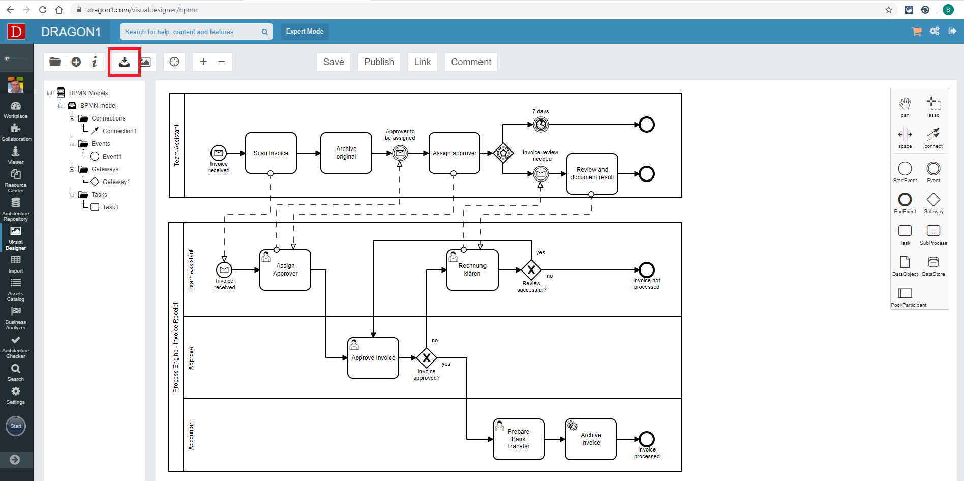 Export a BPMN file from the Visual Designer