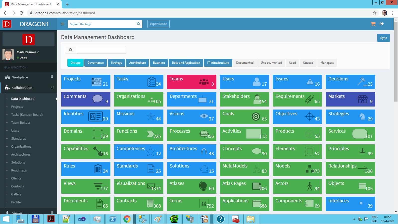 access entity classes via the data dashboard