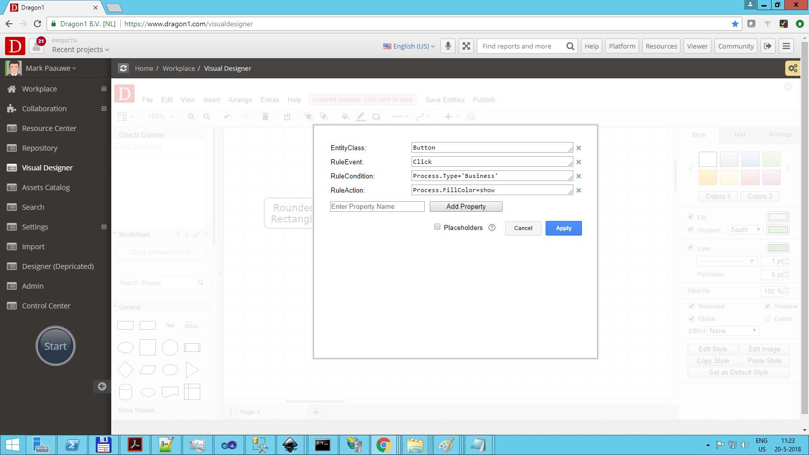 dragon1 configure button click