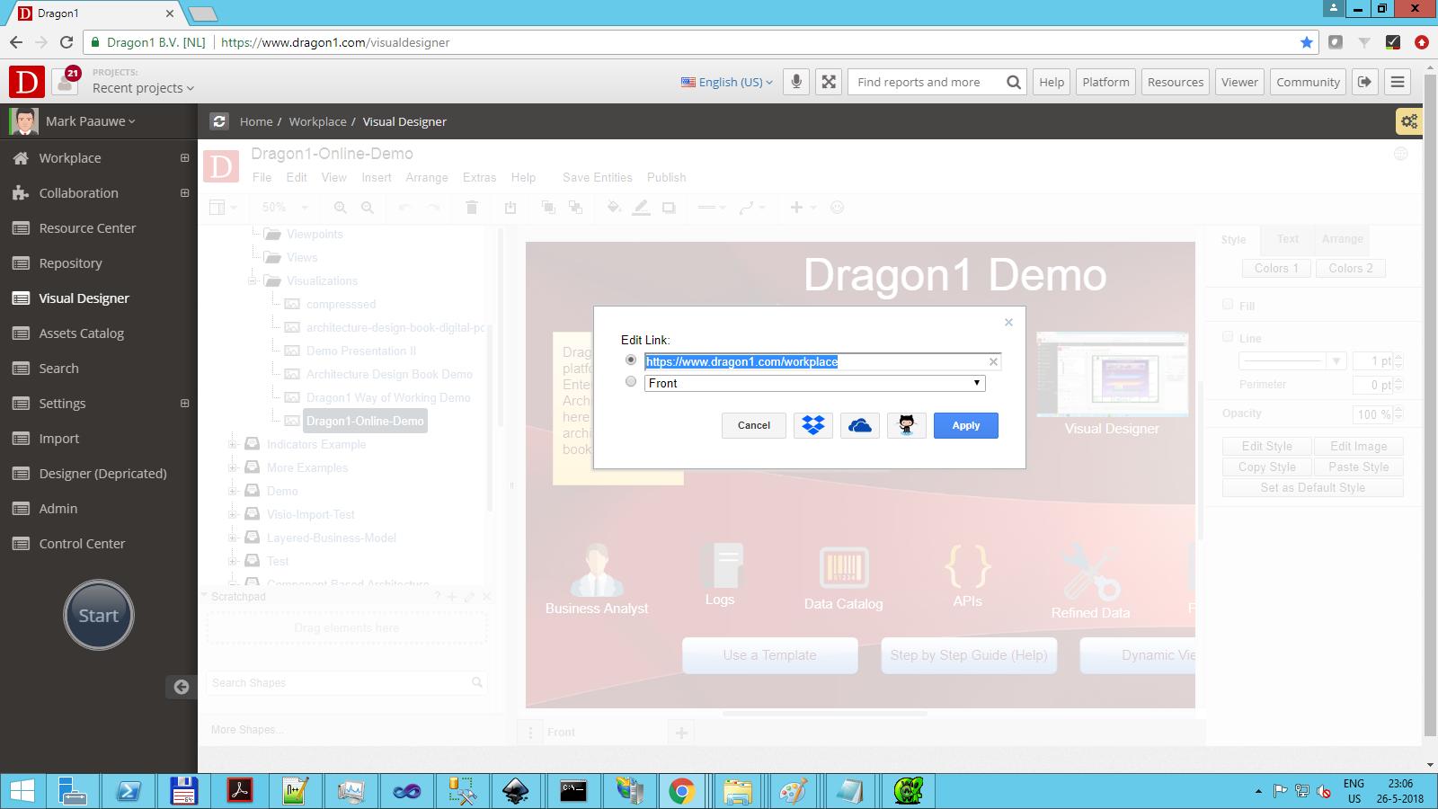 dragon1 set up clickable link for visualization