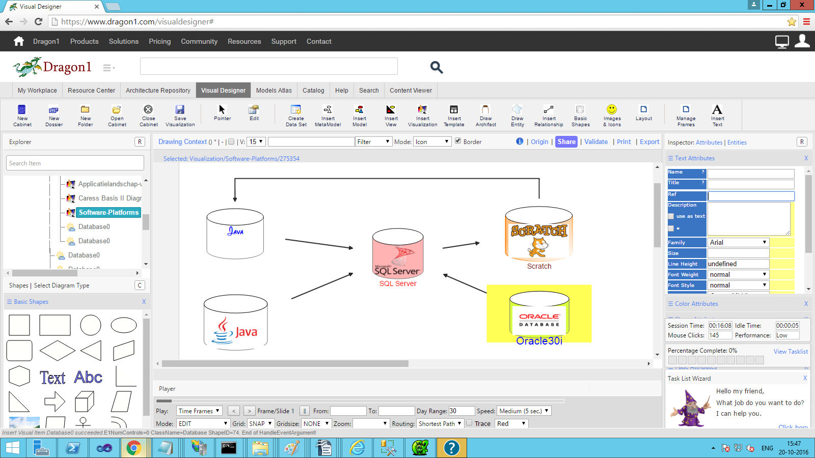 dragon1 connected database shapes with embedded images