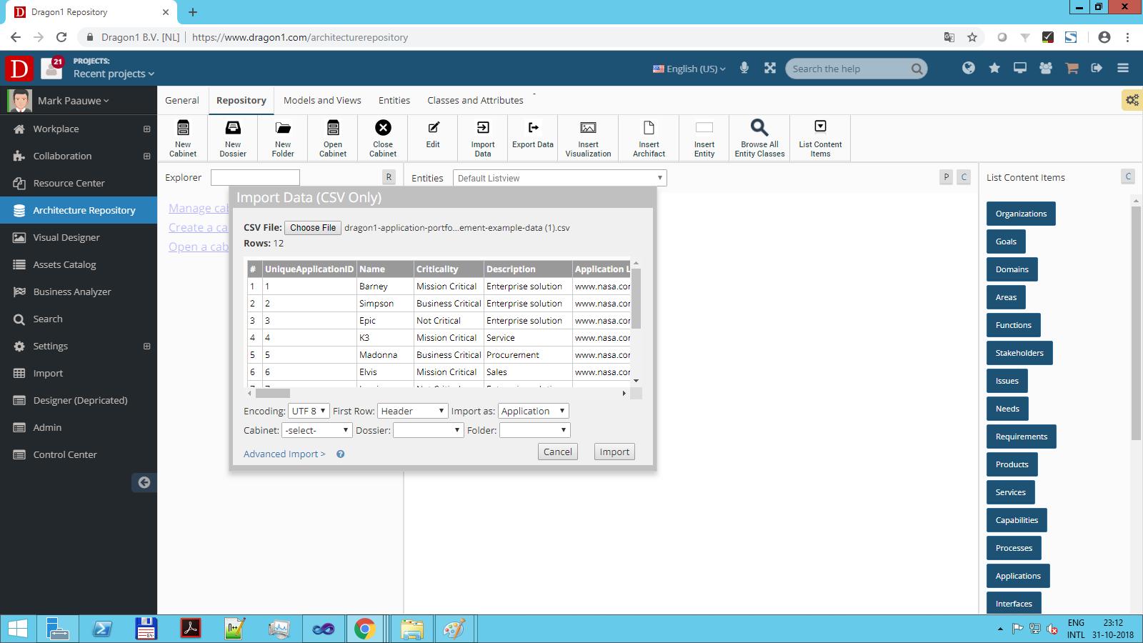 portfolio management import data