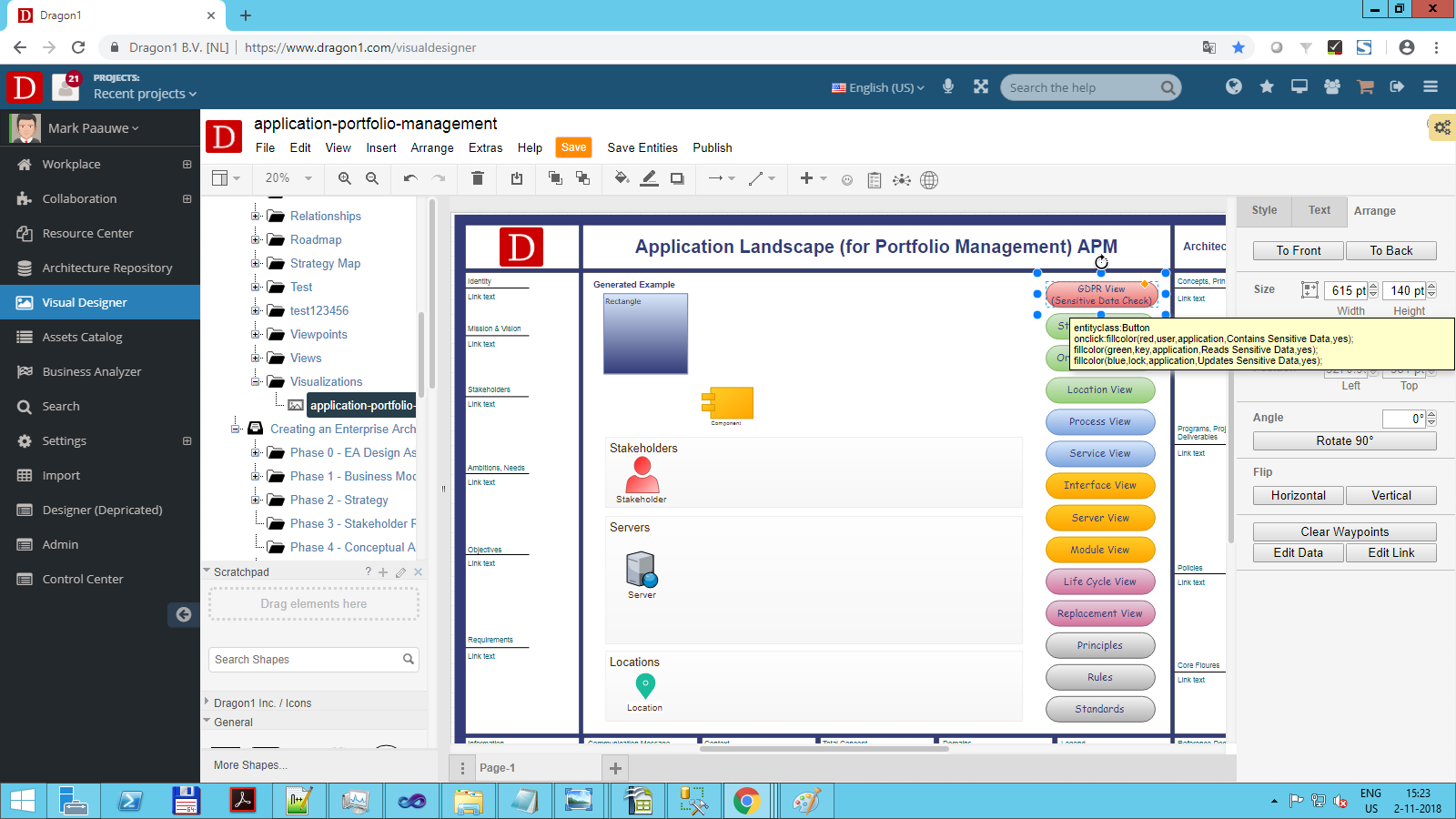 portfolio management visualization button