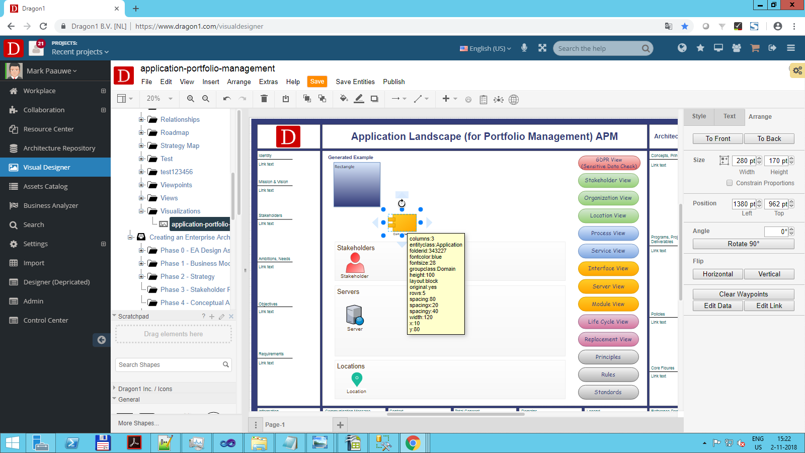 dragon1 application portfolio management visualization template