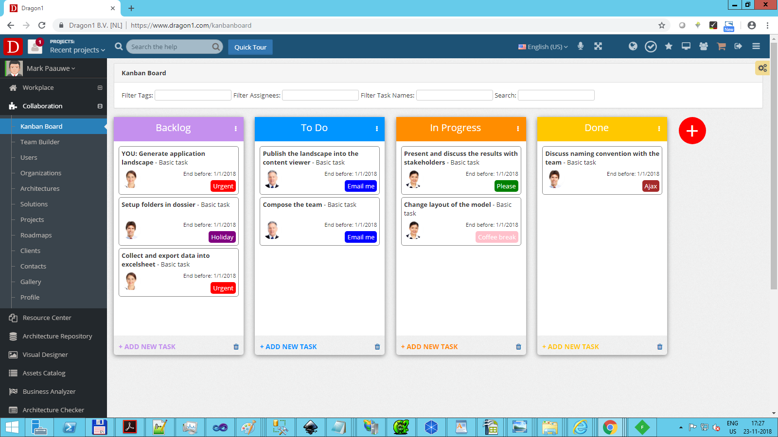 dragon1 collaboration kanban board