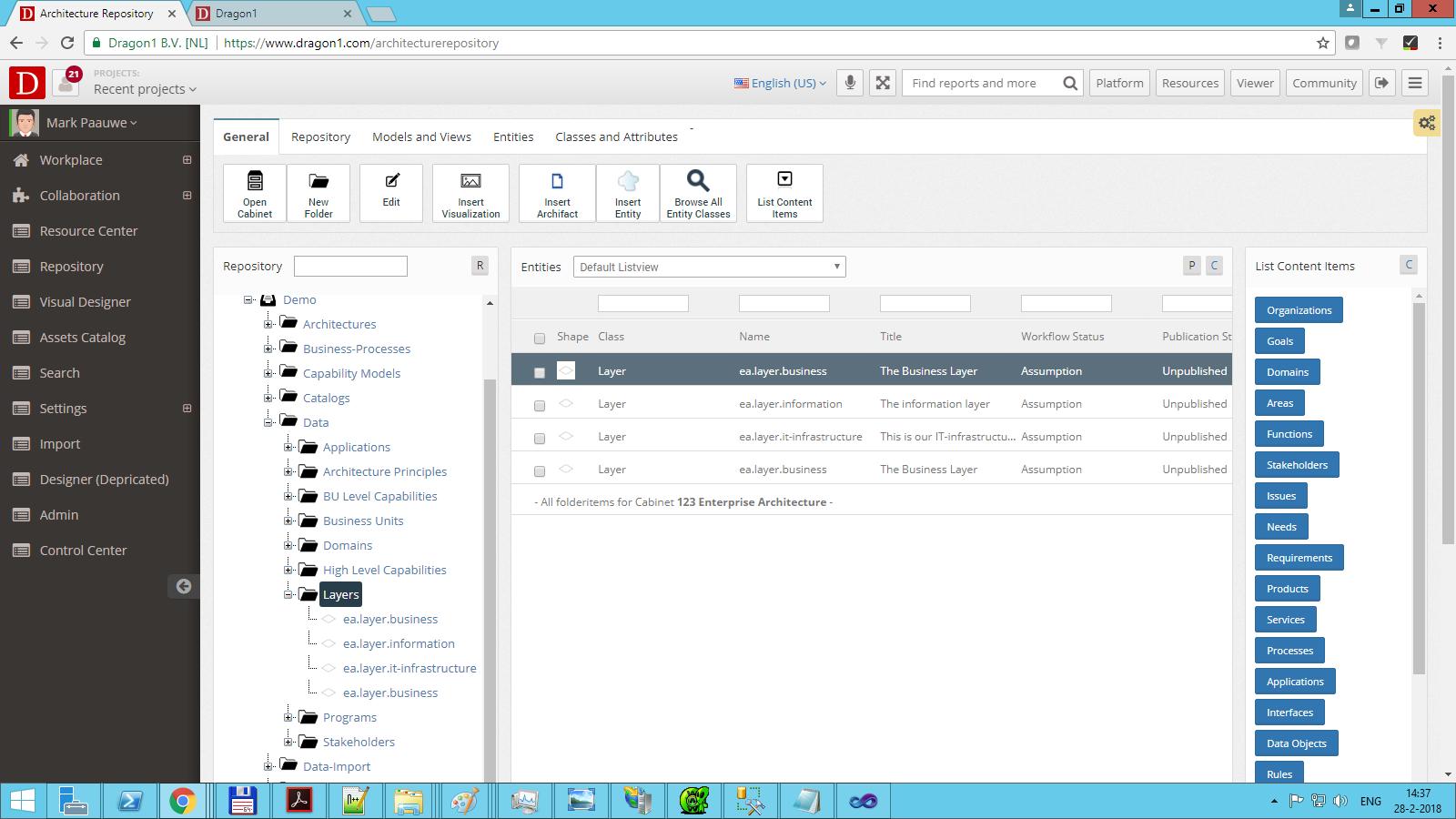 dragon1 change publication status architecture layer
