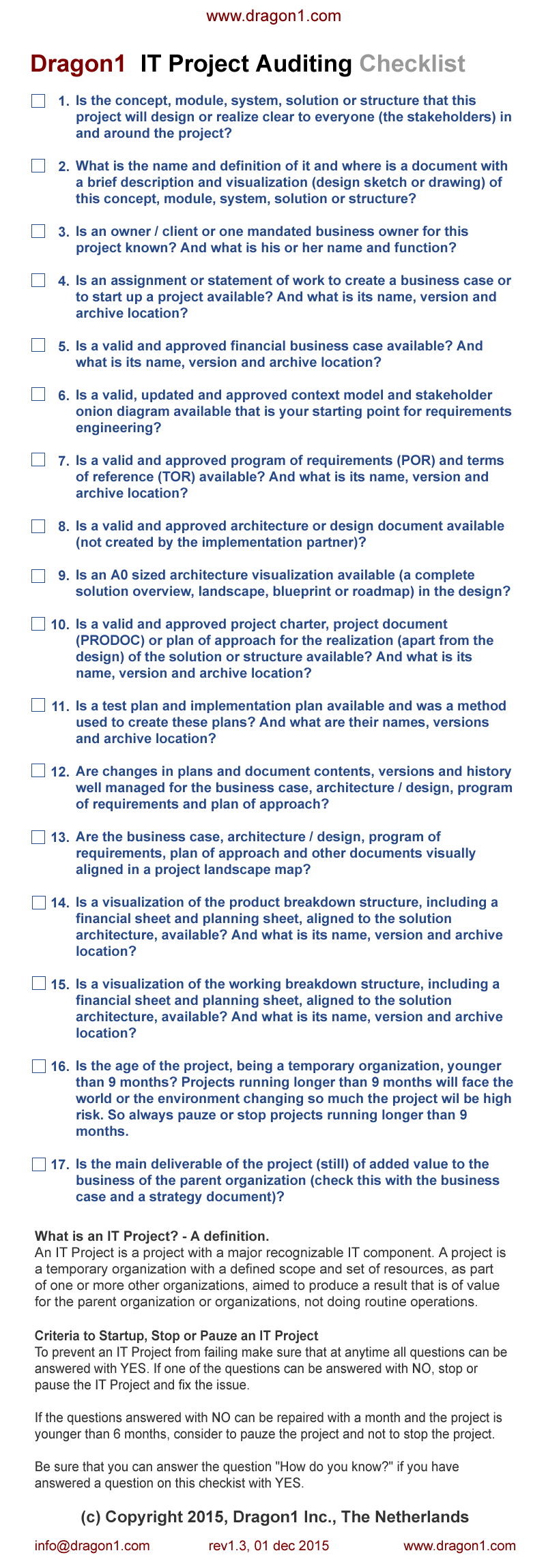IT Project Auditing Checklist