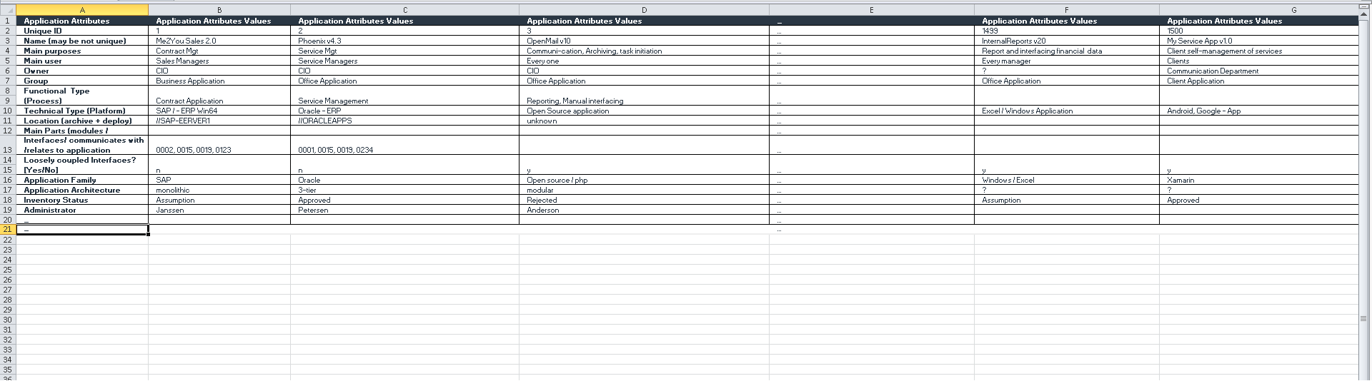application rationalization excel sheet