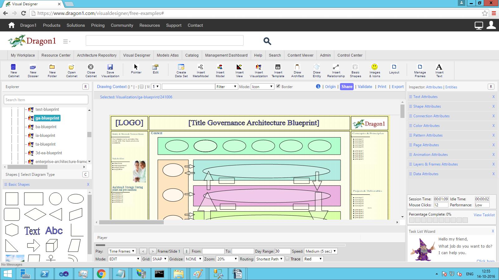 dragon1 selected visualization in visual designer