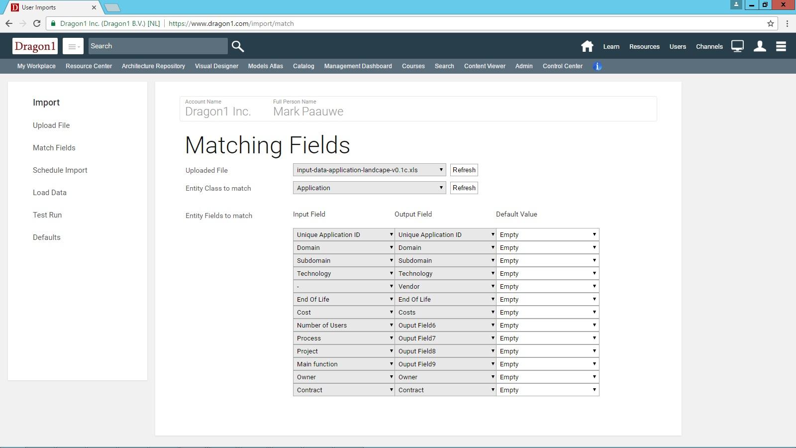 Import Data Application Landscape Generation