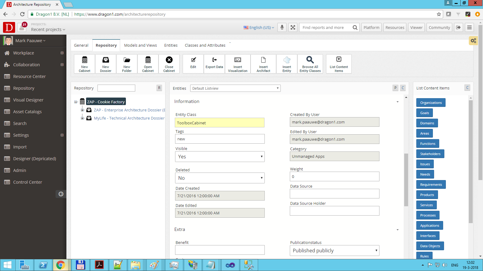 dragon1 attributes in architecture repository in cabinet
