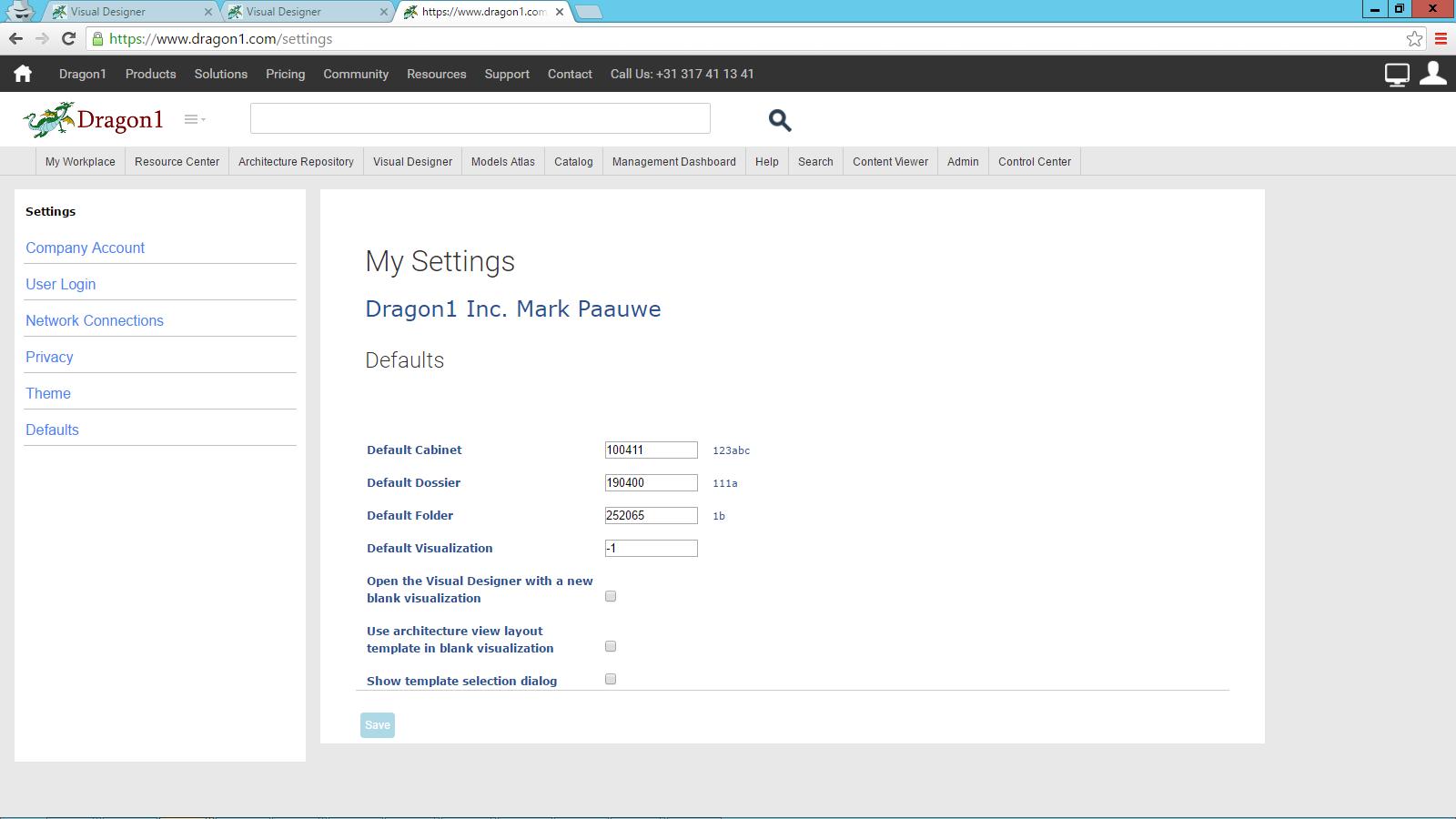 dragon1 defaults settings