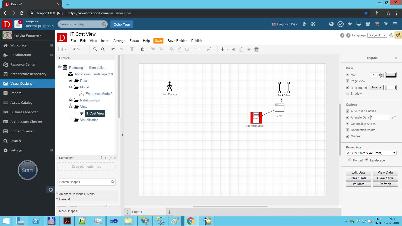 screenshot model view visual designer