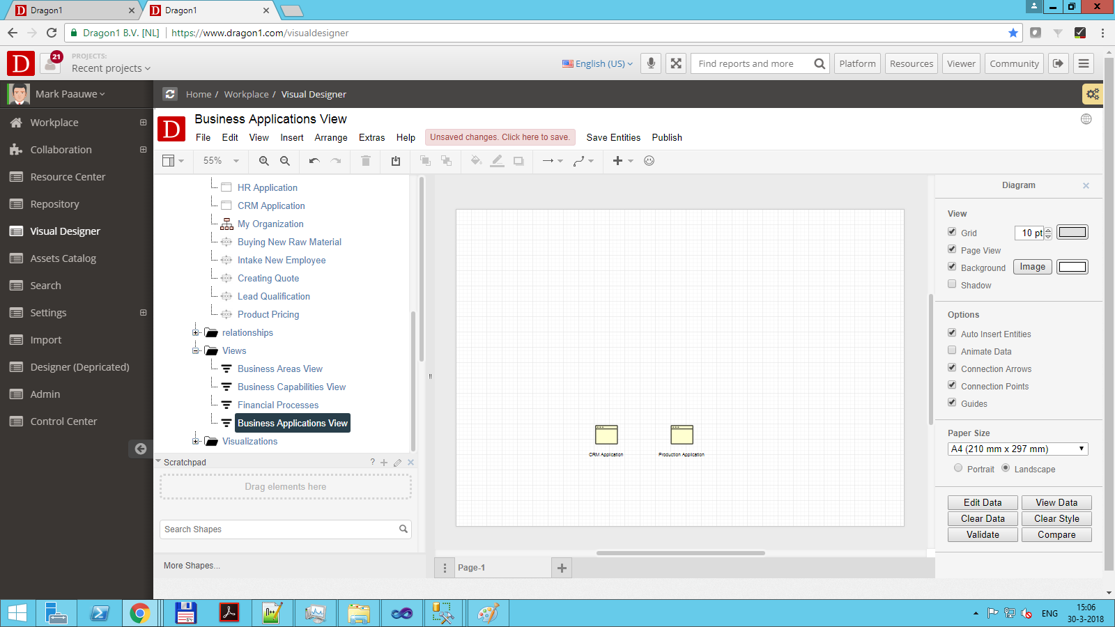 dragon1 view view filters out everything that is not referenced as business application