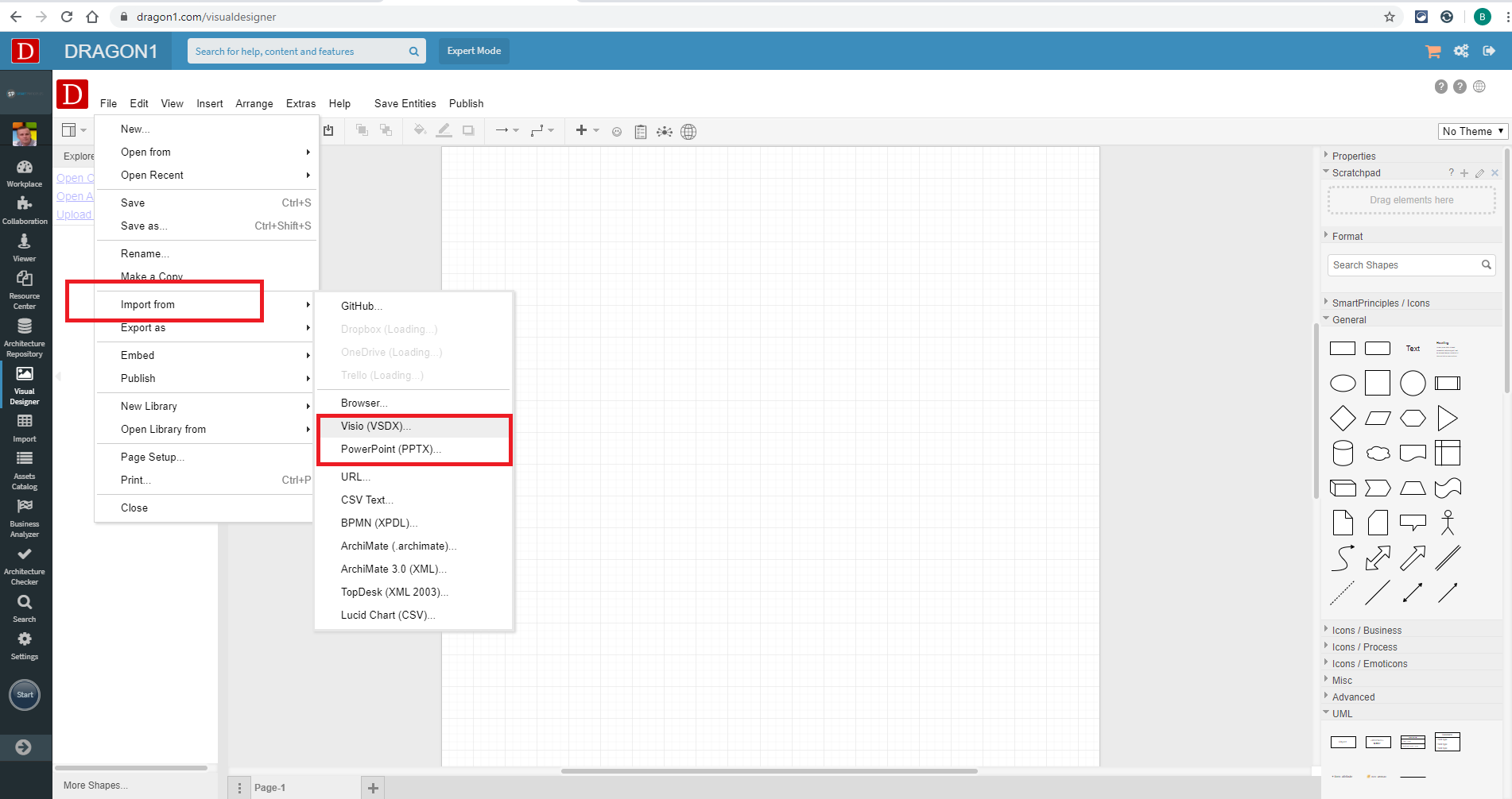 Import a Visio or PowerPoint file in the Visual Designer