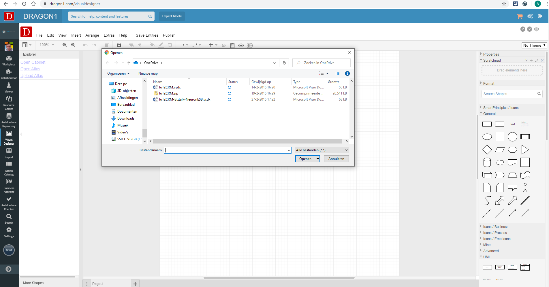 File dialog when importing a Visio or PowerPoint file in the Visual Designer