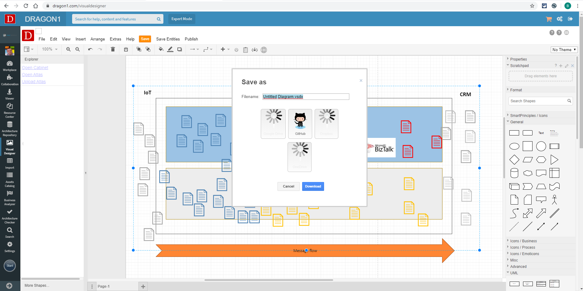 Exporting a diagram to Visio  in the Visual Designer