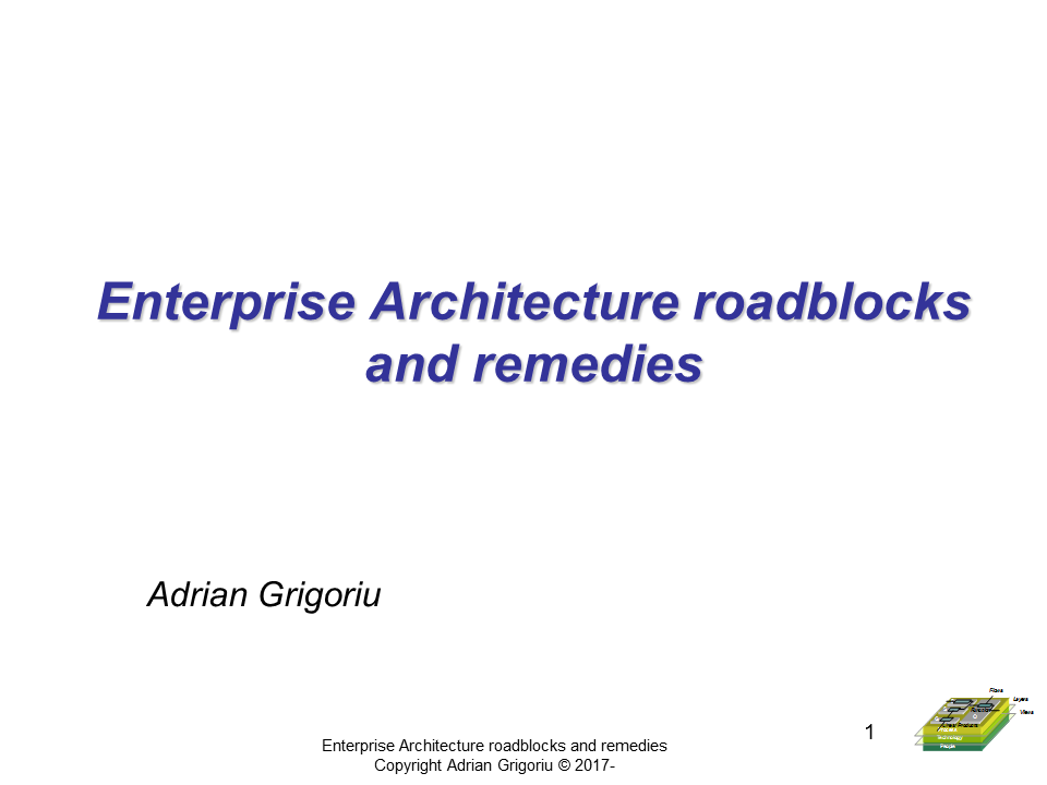 Enterprise Architecture Roadblocks and Remedies